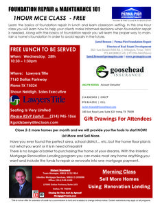 Free Lunch & Learn MCE class