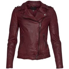 Muubaa Women's Nido Quilted Biker Jacket - Deep Red ($275) ❤ liked on Polyvore featuring outerwear, jackets, coats, tops, coats & jackets, deep red, red quilted jacket, red moto jacket, red leather jacket and quilted jacket