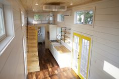 This is a 357 sq. ft. tiny home on wheels built by Nomad Tiny Homes near Austin, Texas. It's built on a large 42′ gooseneck trailer to make the home big enough to house five people. Ins…