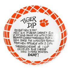 Clemson Tigers Dip Recipe Serving Platter