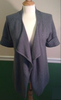 Vince cardigan sweater Medium Wool gray open front ribbed knit #vince #Cardigan