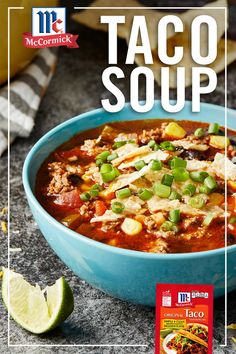 Celebrate taco night with a twist by making this easy Taco Soup. Taco Seasoning Mix brings south-of-the-border flavor to every bite in this 30 minute meal idea. Pro Tip: Serve with avocado, shredded…More Cooker Recipes, Mexican Food Recipes, Crockpot Recipes, Soup Recipes, Vegan Recipes, Snack Recipes, Salad Recipes, Recipies, Planning Menu