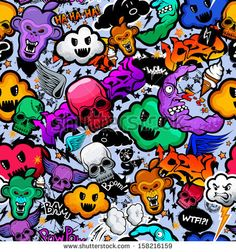 Graffiti cartoon bizarre funky characters seamless freak texture. Pattern, wallpaper from doodles. - stock vector