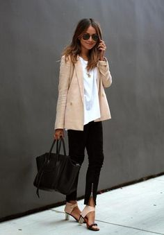 Chic and easy to re-create for travel: swap blazer for the silence&noise white open-front cardigan I just bought and head to the airport.