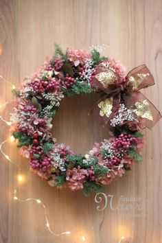ノエルのロマンチックリース 紫陽花とペッパーベリー