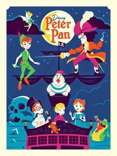 Disney Peter Pan by Dan Perillo, 1974-still active; 7-color screen print, Edition of 250, 2015.  Montygog's Art-O-Rama!