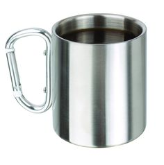 Stainless Steel 8 Oz. Carabiner Mug Portable Travel Water Tea Coffee Cup with D-Ring Carabiner Hook as Handle for Outdoor Sports Camping Hiking Climbing And More * This is an Amazon Affiliate link. You can find out more details at the link of the image.