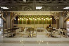 Food Court Design, Food Design, Kids Mania, Column Design, Cafe Restaurant, Commercial Design, 3d Wall, Pergola, Outdoor Structures