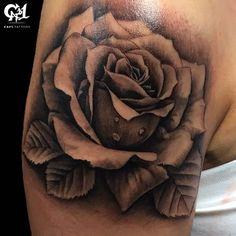 db5511190 Black and Gray Realistic Rose Tattoo. Cap1 Tattoos · Capone's Floral Tattoos