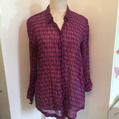 EUC Nei Nei from Anthropologie Print Shirt sz S In excellent condition beautiful animal print shirt by Nei Nei. Purchased from Anthropologie. Very thin cotton. Great fall colors. Size S Anthropologie Tops Blouses