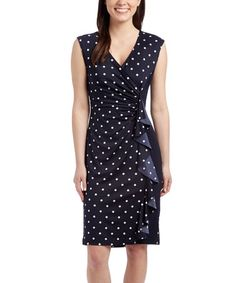Another great find on #zulily! Navy & White Polka Dot Sheath Dress #zulilyfinds