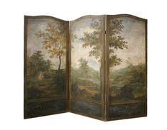 Painted Screens, Room Dividers, Decorative Folding Screens, Hand Painted Screens, Verre Eglomise, Custom Painted Wall Panels, Made in USA, Luxury Furniture