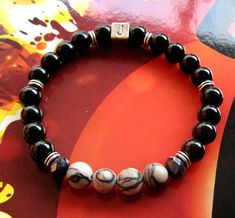 Men beads personalized Bracelet Black Onyx Jaspe zebra