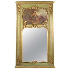A gilt French Trumeau mirror featuring a large painting. This one is a stunner! 1stdibs.com
