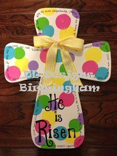 He is Risen Easter Cross Door hanger or by DLDesignsBirmingham Cute Crafts, Crafts For Kids, Diy Crafts, Craft Kids, Door Decoration For Preschool, Cross Door Hangers, Easter Cross, Easter Art, Easter Decor