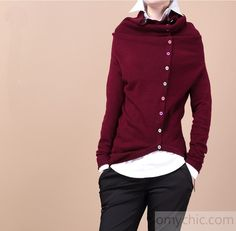 Burgundy Tunic woolen hooded Sweater top