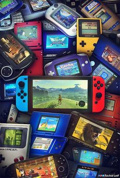 ArtStation - 30 Years of Handheld Game Systems, Rachid Lotf Ps Wallpaper, Game Wallpaper Iphone, Wallpaper Patterns, Retro Video Games, Video Game Art, Retro Games, Classic Video Games, Gaming Wallpapers, Playstation