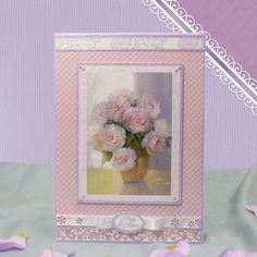 Card made using Pretty Peonies Luxury Topper Set from the Frosted Florals collection by Hunkydory Crafts http://www.hunkydorycrafts.co.uk/papercraft/hunkydory-collections/frosted-florals/frosted-florals-luxury-topper-set-pretty-peonies-frost902.html