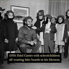 1959: Fidel Castro with schoolchildren all wearing fake beards in his likeness.