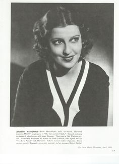 From The New Movie Magazine, April 1934, a younger Jeanette MacDonald. Interesting write up! - ESCANO COLLECTION