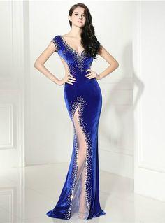 Sexy Mermaid Blue Velvet Deep V-neck Backless Prom Dress dbe221d4d