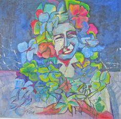 "Schilderij Ping Frderiks, ""Flower Girl"", 90x90 acryl op doek"