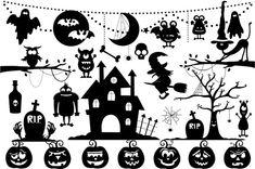 Halloween Silhouette Clipart Set by Julia_Sunrain on Creative Market Halloween Fonts, Halloween Doodle, Halloween Drawings, Halloween Clipart, Halloween Quotes, Spooky Halloween, Halloween Crafts, Happy Halloween, Fall Clip Art