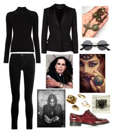 """Ozzy Osbourne Inspired Outfit"" by hellenrose7292 on Polyvore featuring ZeroUV, Misha Nonoo, J Brand, Alexander McQueen and Marc Jacobs"