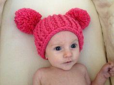 Baby Pom Pom Knit Hat - Fuschia - 6 months