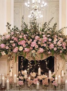 Pink and green mantle Floral Wedding Mantle, Wedding Fireplace, Pink Green Wedding, Wedding Colors, Wedding Ideas, Floral Arch, Floral Bouquets, Ceremony Decorations, Flower Bouquet Wedding