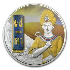 2013 Fiji 2 oz $50 silver coin - Egyptian Jewels: Ramesses II (gilding, palladium finishing and Dumortierite insert).