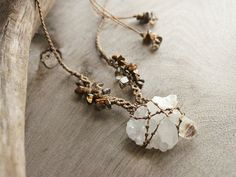 Clear Quartz crystal healing necklace, natural un-drilled raw Quartz crystal, brown macrame jewelry without metal