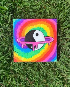 Small Canvas Paintings, Small Canvas Art, Cute Paintings, Mini Canvas Art, Hippie Painting, Trippy Painting, Arte Indie, Canvas Painting Tutorials, Hippie Art