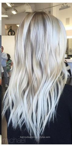 Ice Blonde Hair Color for long hair - Hair Care Ice Blonde Hair, Icy Blonde, Blonde Color, Winter Blonde, Hair Colour, Ombre Hair, Pastel Hair, Ombre Colour, Brown Blonde