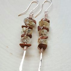 Citrine and Gold Stone Vertical Bar earrings in 14K Rose Gold. Hand Hammered Rose Gold paddle headpin, wire wrapped gemstone earrings available at LovesGardenJewelry.etsy.com