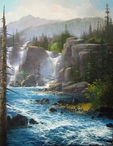 Magical Waters by Joseph Yarnell Acrylic ~ 22 x 28 Fantasy Landscape, Landscape Art, Landscape Paintings, Beautiful Paintings, Beautiful Landscapes, Waterfall Paintings, Fantasy Places, Seen, Beautiful Waterfalls