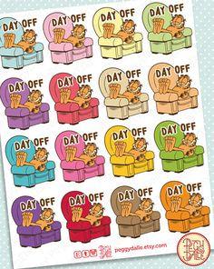 Garfield Day Off Planner Stickers Erin Condren by PeggyDalle