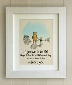 Winnie The Pooh Quote Print Birth Christening Nursery Picture Gift Bear