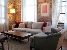 Richard & Julie's Elegant Industrial Loft Brick Interior, Cheap Adirondack Chairs, Room Of One's Own, Loft Interiors, Loft House, Loft Design, Industrial Loft, Living Room Inspiration, Garden Inspiration