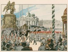 Wilhelm II at the dedication of the national monument in Berlin in 1897. Illustration from House of Hohenzollern in Pictures and Words by Carl Rohling and Richard Sternfeld. Published by Martin Oldenbourg in Berlin, c 1900.