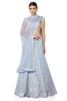 Ice blue Mahtaab lehenga choli and dupatta with floral embroidery - Anita Dongre - Love Notes - Spring Summer collection 2016