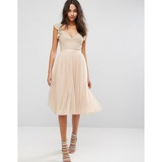 Needle & Thread Swan Tulle Midi Dress With Frill Sleeve ($91) ❤ liked on Polyvore featuring dresses, beaded midi dress, beaded dress, draped midi dress, draped dress and ruffle sleeve dress