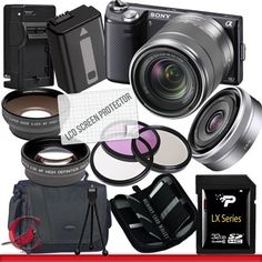 Sony Alpha NEX-5N Digital Camera (Black) with 18-55mm Lens & Sony SEL 16mm f/2.8 Lens Package 3 by Sony. $899.00. Package Contents:  1- Sony Alpha NEX-5N Digital Camera (Black) with 18-55mm Lens & Sony SEL 16mm f/2.8 Lens With all supplied accessories 1- 32GB SDHC Class 10 Memory Card 1- Rapid External Ac/Dc Charger Kit   1- USB Memory Card Reader  1- Rechargeable Lithium Ion Replacement Battery  1- Weather Resistant Carrying Case w/Strap  1- Pack of LCD Screen P...