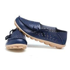 Big Size Leather Hollow Out Floral Breathable Soft Comfy Lace Up Flat Shoes
