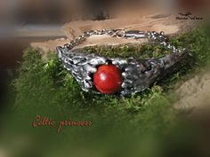 Red coral bracelet Celtic Princess ancient look Aquamarine Earrings, Coral Earrings, Celtic Bracelet, Custom Made Gift, Coral Bracelet, Fairy Jewelry, Healing Crystal Jewelry, Wise Women, Natural Red