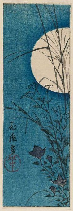 Utagawa Hiroshige: Flower Garden: Autumn Plants (Hana yashiki, akigusa), cut from an unidentified harimaze sheet - Edo period.