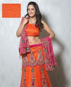 Buy Glamorous Deep Deep Orange Lehenga Choli online at $279.88 [ADF30492]