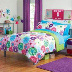 Turquoise and Hot Pink Bedroom | Girl Fun Bright Green Pink Purple Bright Flower Floral Full Queen ...