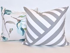 grey and white stripe pillow with gorgeous floral available at www.tonicliving.com (or click on picture to buy). Nolita, Grey Pillow by Tonic Living