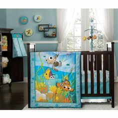 I want an ocean theme. Hopefully I will be able to find it-I guess it is rare.  Amazon.com: Disney Finding Nemo 8 Piece Crib Bedding Set: Baby